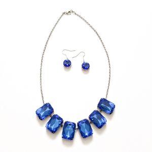 SET Sapphire Crystal Stone Statement Bib Necklace